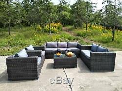 7 Seater Rattan Garden Furniture Set Sofa Table Patio Conservatory