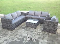 7 seater grey rattan sofa chair table outdoor garden furniture patio set