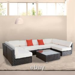 7PC Rattan Outdoor Garden Furniture Patio Corner Sofa Set PE Wicker Deck Couch