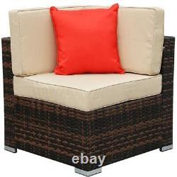 7PCS Patio Ratten Garden Furniture Set Table & Chair Sofa cushion Outdoor indoor