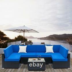 7PCS Rattan Outdoor Garden Furniture Patio Corner Sofa Set PE Wicker Deck Couch