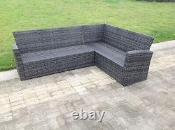 8 Seater Corner Wicker Rattan Garden Furniture Sets Dining Table Outdoor Grey