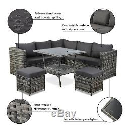 8 Seater Grey Rattan Sofa With Dining Table Outdoor Garden Furniture Grey