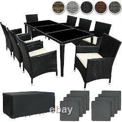 8 Seater Table Aluminum Rattan Garden Furniture Chairs Set Outdoor Wicker New