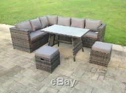 8 seater rattan corner sofa set dining table set outdoor garden furniture