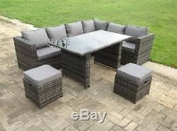 8 seater rattan sofa dining table set outdoor garden furniture grey stools