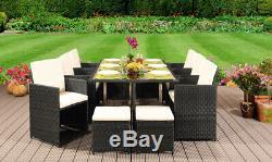 9 11 13 Piece Rattan Garden Cube Set Chairs Sofa Table Outdoor Patio Furniture