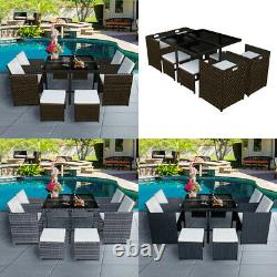 9/11 Pieces Rattan Garden Furniture Set Cube Dining Chairs Table Outdoor