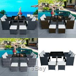 9/11 Pieces Rattan Garden Outdoor Furniture Set Cube Dining Chairs Table Patio