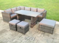 9 Seater Rattan Corner Sofa Garden Furniture Dining Table Set Footstools Grey