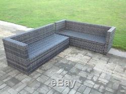 9 Seater Rattan Corner Sofa Outdoor Garden Furniture Dining Table Set Footstools
