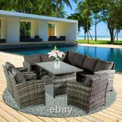 9 Seater Rattan Outdoor Garden Furniture Dining Set Corner Sofa Table & Chairs