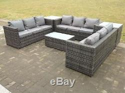 9 Seater U Shape Corner Rattan Garden Furniture Sofa Table Outdoor Conservatory
