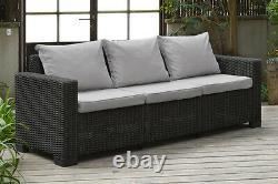 Allibert California Graphite Grey 3-Seater Sofa In Rattan Garden Furniture