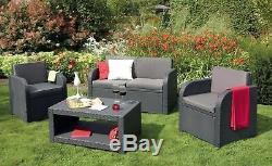 Allibert'Modena' Rattan Garden/Patio Outdoor Furniture. Sofa Table & 2 Chairs