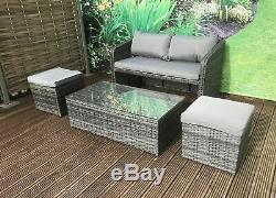 Aluminium Frame Compact Rattan Garden Furniture Set Bistro Balcony Outdoor Patio