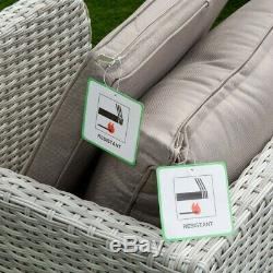 Aruba 4 Seat Rattan Wicker Luxury Dining Set Table Chair Garden Patio Furniture