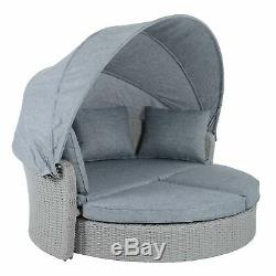 Azuma Milan Sun Lounger Day Bed Rattan Garden Furniture 2 Seat Sofa With Canopy