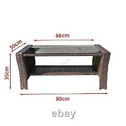 BIRCHTREE Rattan Garden Furniture Set Armchair Sofa Glass Table Outdoor Patio 02