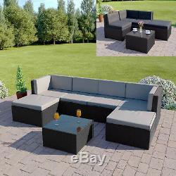 BLACK Rattan Modular Corner Sofa Set Garden Furniture L Shape FREE COVER