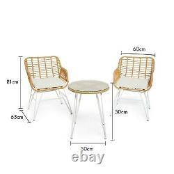BTFY Rattan Bistro Set Hand Woven Wicker Cane Style Outdoor Garden Furniture