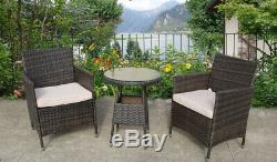 Bistro Garden Rattan Wicker Outdoor Dining Furniture Set Table Chairs 2 Two