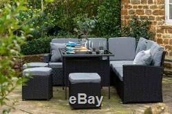 Black Rattan Garden Corner Sofa Outdoor Dining Table Furniture Set