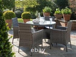 Casa Rattan' Grey Round 4 Seater Outdoor Garden Furniture Dining Table Set