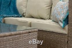 CasaGiardino Grey Rattan Corner Sofa Outdoor Garden Furniture Coffee Table Set