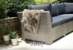 Chester Rattan Garden Furniture Corner Lounge Set, Grey Cushion RRP £899.00