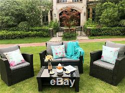 Conservatory 4 Piece Rattan Sofa Garden Furniture Patio Set Table Chairs Black