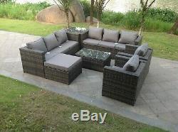 Conservatory 9 Seater Rattan Corner Sofa Set Ottoman Garden Furniture Set Grey