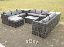 Conservatory Outdoor Garden furniture Rattan Sofa Set Coffee Table Set Grey