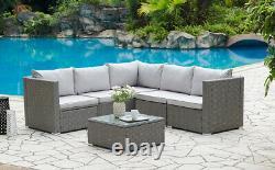 Corner Rattan Sofa Set Outdoor Garden Furniture Black Brown Grey With Cover