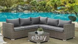 Corner Rattan Sofa Set Outdoor Garden Furniture Patio L-Shaped Brown Grey