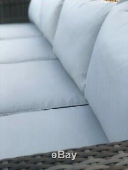 CosmoLiving Rattan Outdoor Garden Furniture Set Grey Miami Cushion Patio Lounge