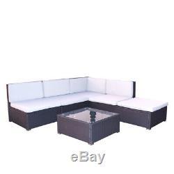 Courtyard Garden Patio Furniture Set Rattan Glass Coffee Table Chair Corner Sofa