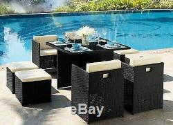 Cube Rattan Garden Furniture 9 Piece Dining Set Stools Black Brown Outdoor Patio