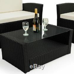 Deuba Poly Rattan Garden Furniture Set Outdoor Patio Balcony Black 4 Piece Chair