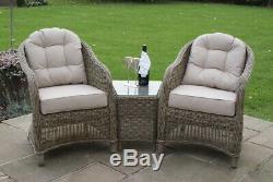 Dorchester Rattan Garden Furniture 3 Piece Natural Lounge Armchair Set & Table