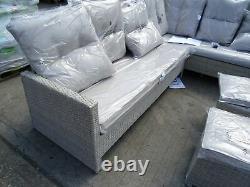 Ex Display Hartington Albury Rattan Garden Furniture Corner Reclining Sofa Grey