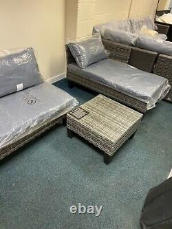 Ex Display Outsunny 3PCS Garden Rattan Corner Sofa Set Wicker Furniture