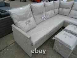 ExDisplay Hartington Albury Rattan Garden Furniture Corner Reclining Sofa Grey#3