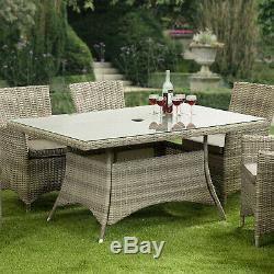GSD Rattan Garden Furniture Dining Set Rectangular 6 Seat Wicker Arizona Alu Frm