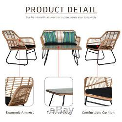 Garden Bistro Patio Furniture Set Table & Chairs Outdoor Indoor Steel Rattan