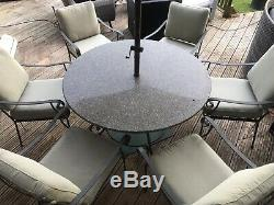 Garden Furniture Set, Galvanised Chairs And Table With Heavy Stone Marble Top