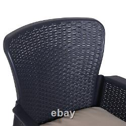 Garden Outdoor 3 PCs Rattan Furniture Set 2 Arm Chair with Cushion 1 Coffee Table