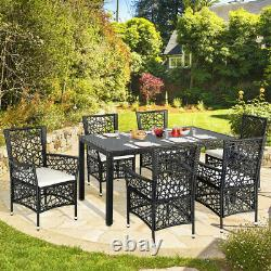 Garden Poly Rattan 1 Table 6 Chairs Dining Furniture Set Outdoor Seating Group