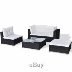 Garden Poly Rattan Lounge Set 14 Pieces Outdoor Furniture Sofa Seat Black W6Y7