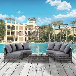 Garden Rattan Furniture 4 Seaters Half-round Patio Outdoor Sofa & Table Grey